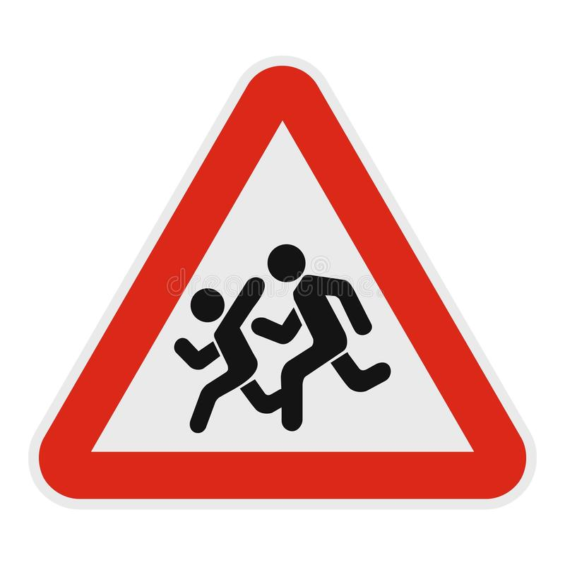 Children crossing the road icon, flat style. vector illustration