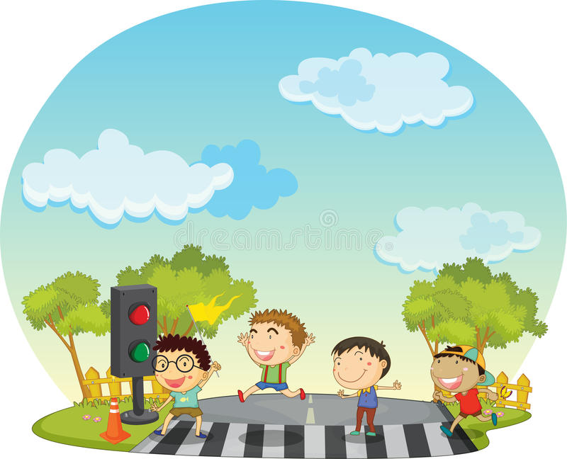 Children Crossing Street Royalty Free Stock Photography