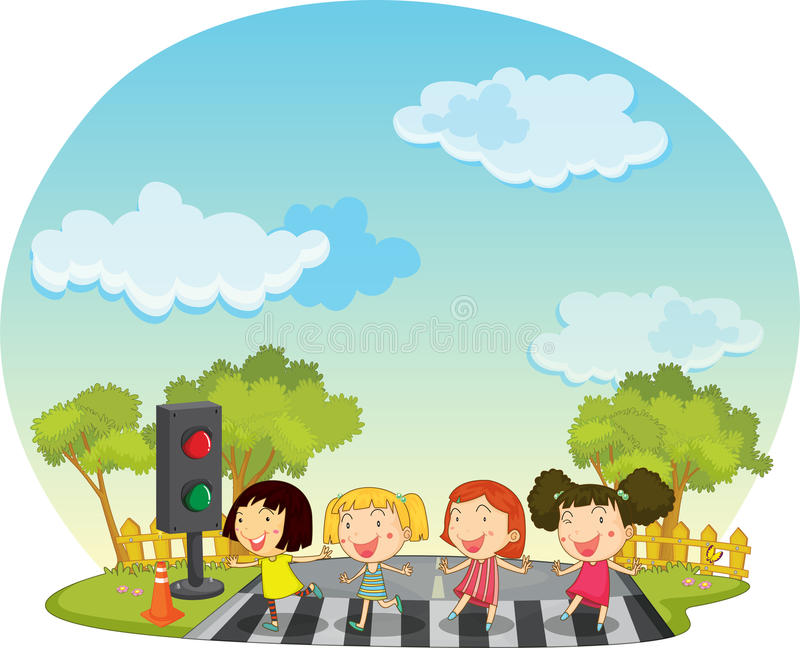 Download Children Crossing The Street Stock Illustration - Illustration: 24195890