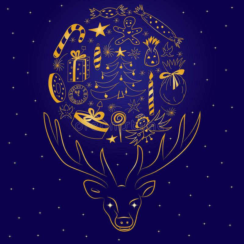 Children Cute Drawings Arranged in a Shape of a Circle Between Deer`s Horns. Hand Drawn Golden Silhouette of Reindeer. And Holiday`s Symbols. Perfect for stock illustration