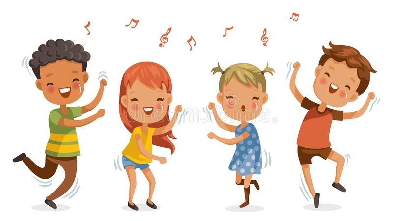 Children dancing. Boys and girls dancing together happily.Jumping, shake the hips, move the body, cute cartoon Enjoy the rhythm. Have fun in childhood.Vector vector illustration
