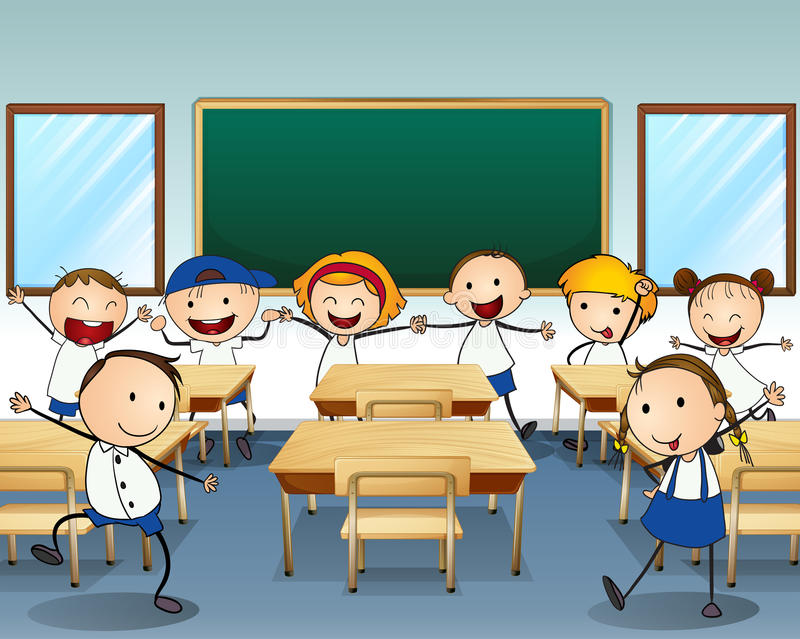 Children dancing inside the classroom stock illustration