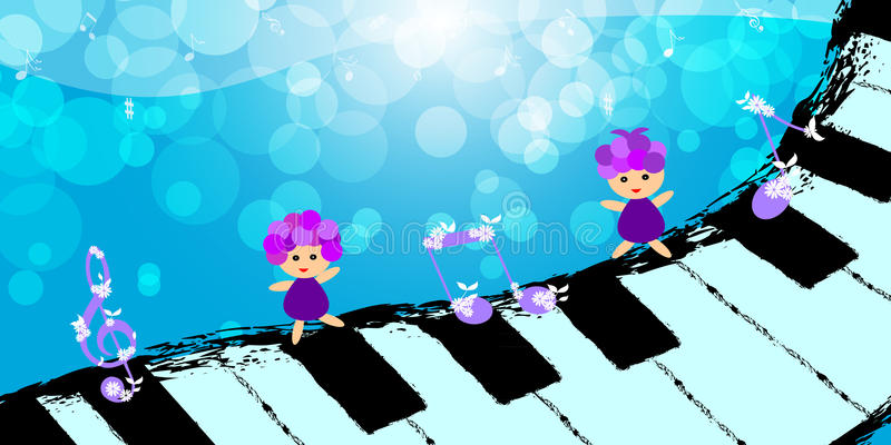 Children dancing on piano keyboard stock illustration