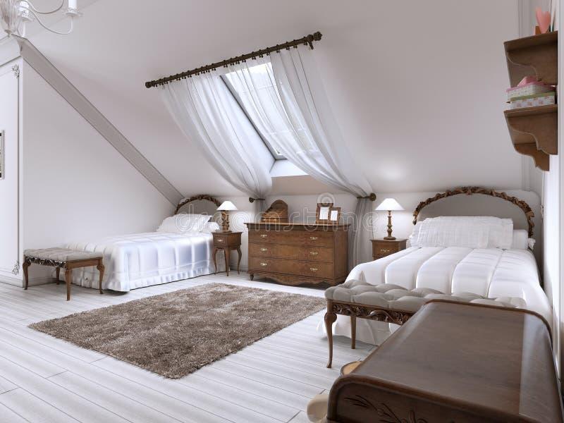 Children& de lujo x27; sitio de s con dos camas y una ventana del tejado stock de ilustración