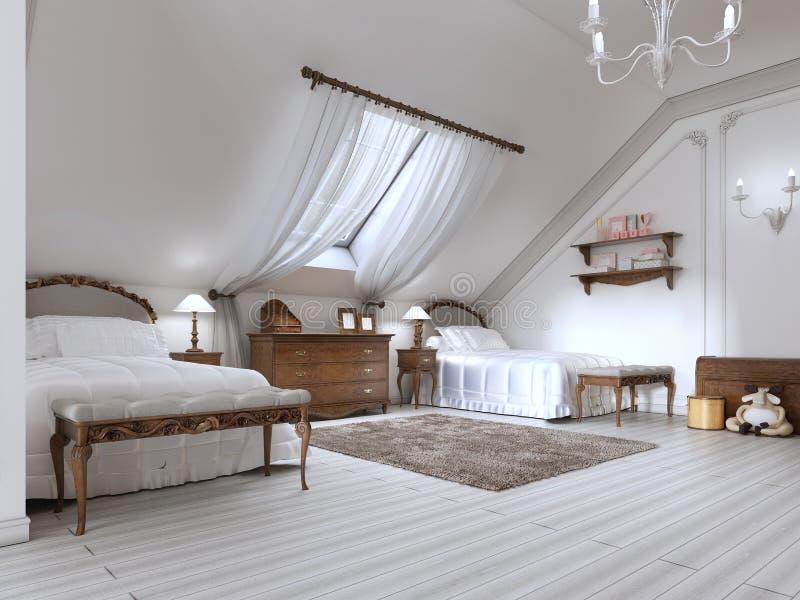 Children& de lujo x27; sitio de s con dos camas y una ventana del tejado ilustración del vector