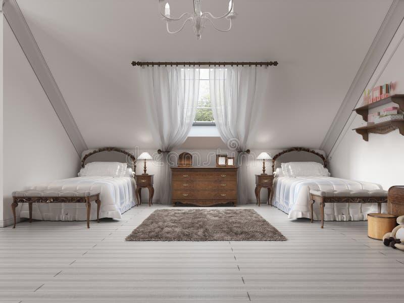 Children& de lujo x27; sitio de s con dos camas y una ventana del tejado libre illustration