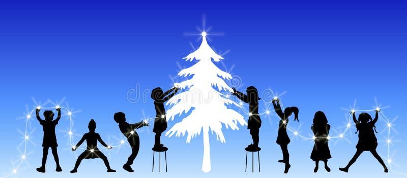 Children Decorating Tree vector illustration