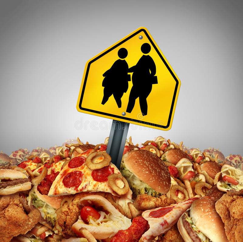 Children Diet Problems. And obesity crisis in the school concept as a heap of unhealthy fast food with two overweight fat kids on a a crossing traffic sign as a vector illustration