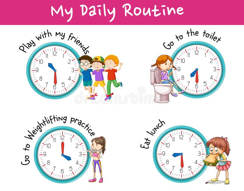 Children and different activities for daily routine. Illustration vector illustration
