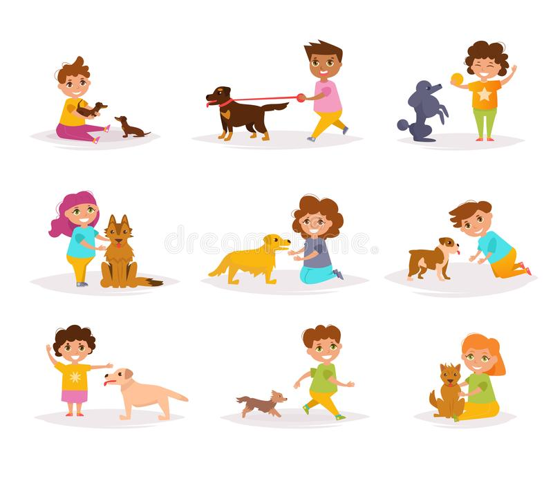 Children with different breeds of dogs royalty free illustration