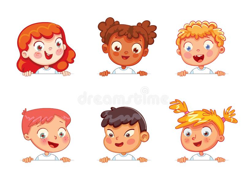 Children of different nationalities are holding blank poster. Cartoon collection of little kids portraits. Children of different nationalities are holding blank stock illustration