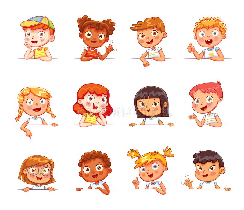 Children of different nationalities and various gestures holding empty white board. Cartoon collection of little kids portraits. Children of different vector illustration