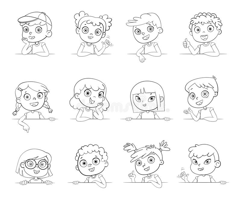 Children of different nationalities and various gestures holding empty white board. Logotype. Cartoon collection of little kids portraits. Children of different vector illustration