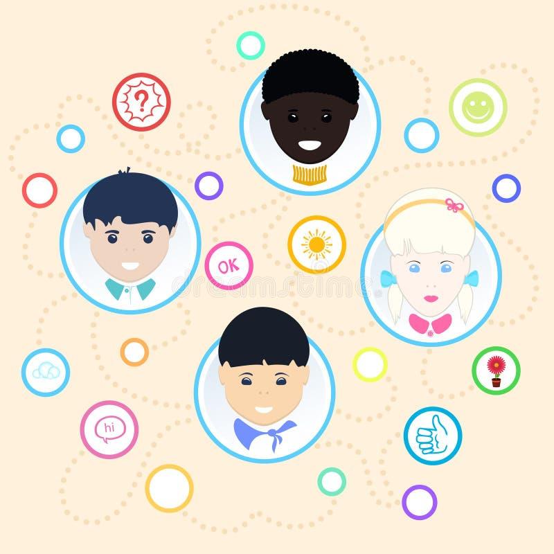 Children of different nationalities. Vector vector illustration