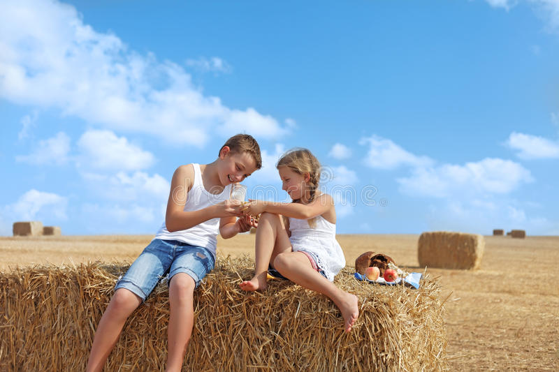 Download Children dine stock photo. Image of farm, outdoor, fall - 26622722