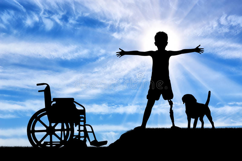 Children with disabilities concept stock images