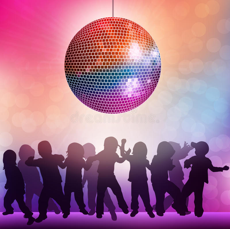 Children at the disco. Party time stock illustration