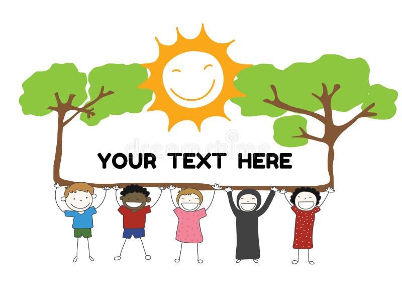 Children diversity holding label with tree sun smile for you. Children diversity holding label with tree and sun smile for your text vector stock illustration