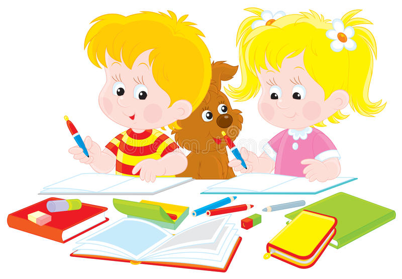Children do homework vector illustration