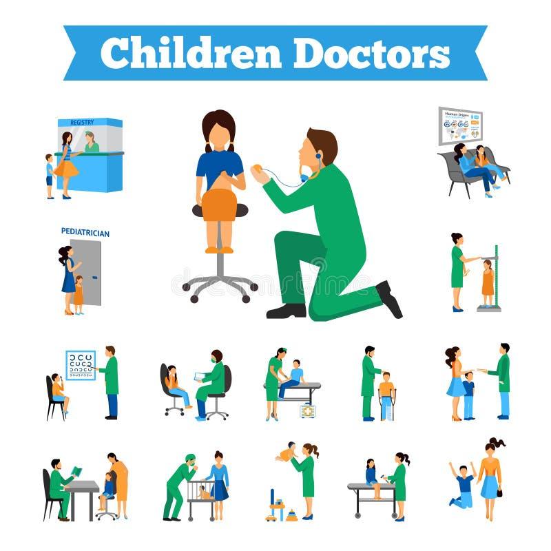 Children Doctor Set. Children doctor and little patients flat icons set vector illustration royalty free illustration