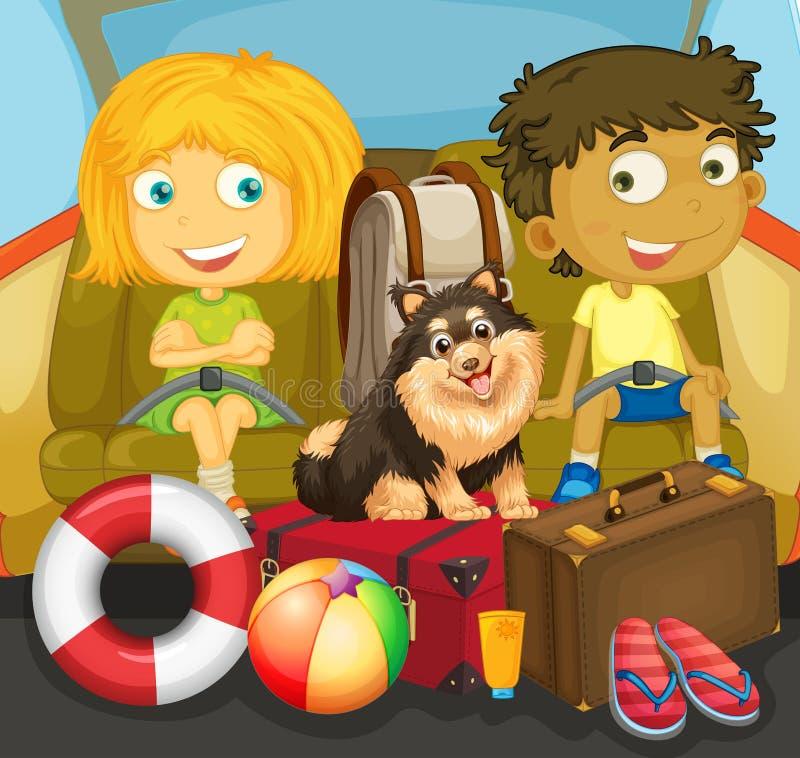Children and dog riding in car. Illustration vector illustration