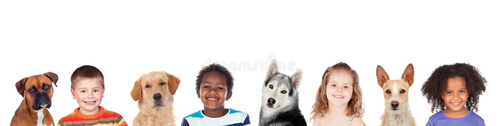 Children and dogs, a good combination stock photo