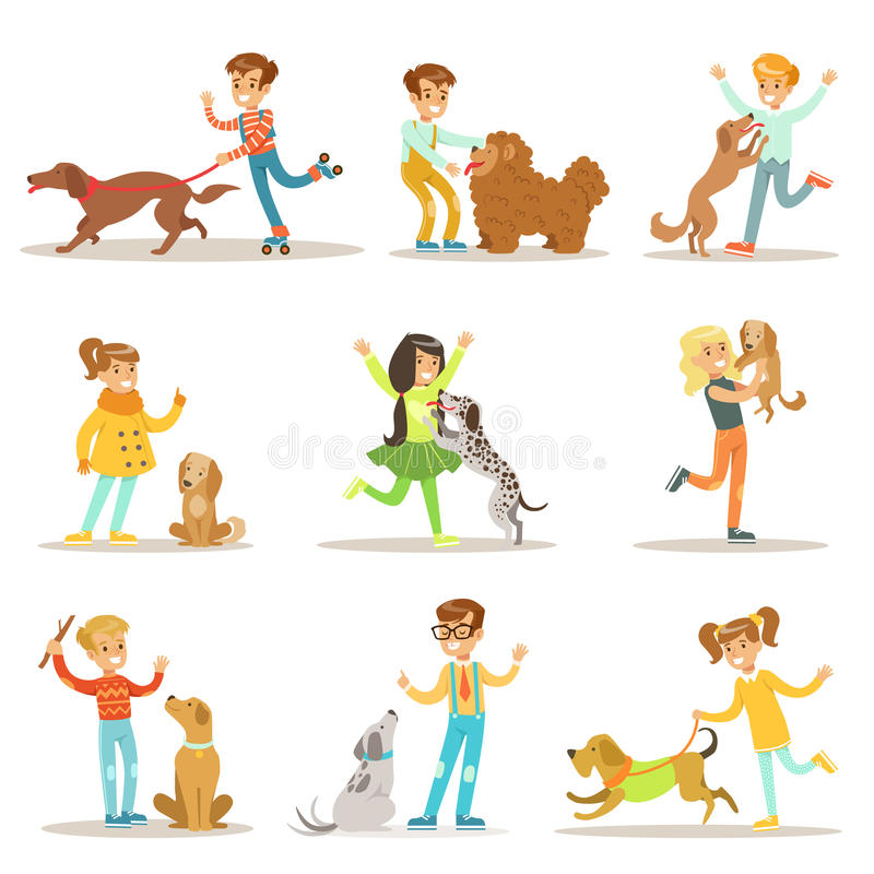 Children And Dogs Illustrations Set With Kids Playing And Taking Care Of Pet Animals. Happy Boys And Girls Cartoon Characters With Domesticated Animals stock illustration