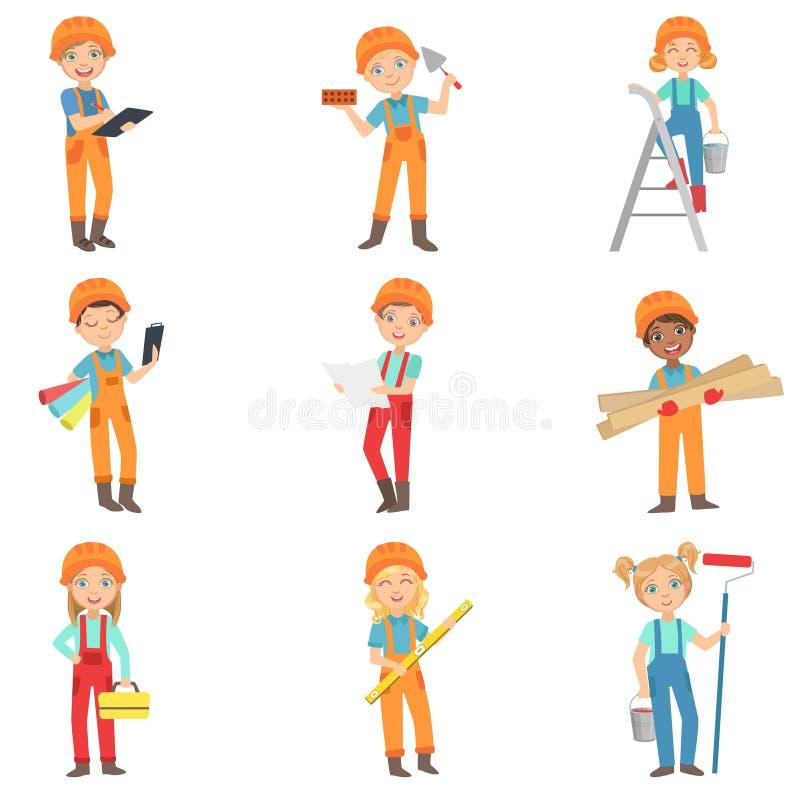 Children Doing Construction Work Set royalty free illustration