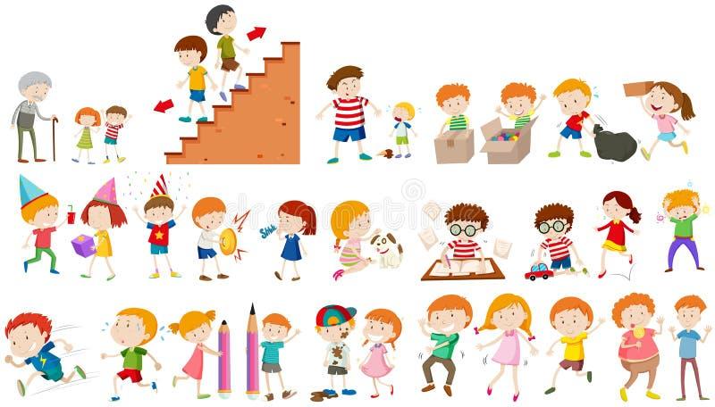 Children doing different activities stock illustration