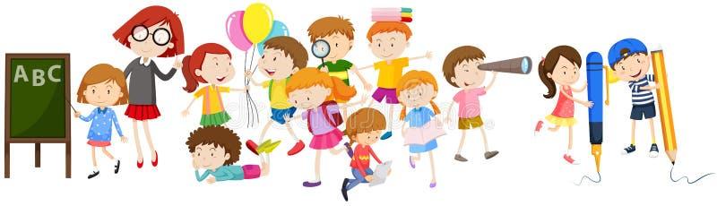 Children doing different activities at school vector illustration