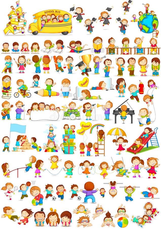 Children doing different fun activities vector illustration