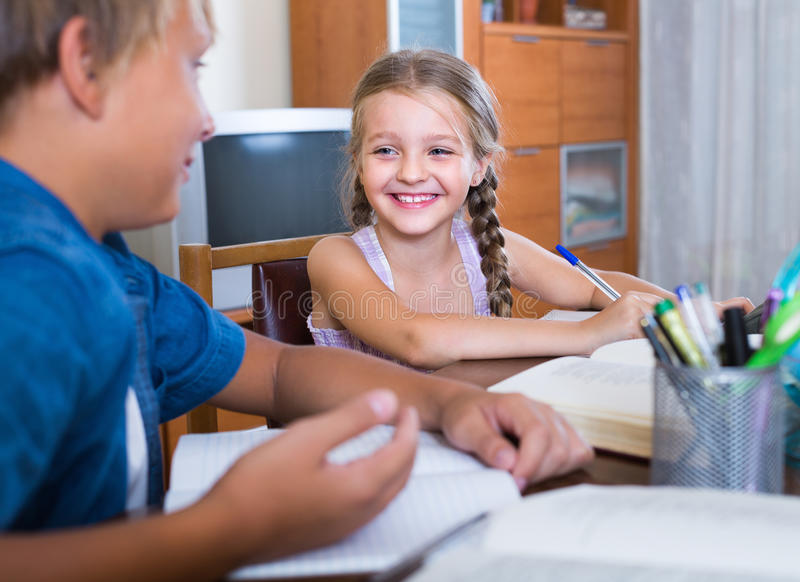 Children doing homework royalty free stock image