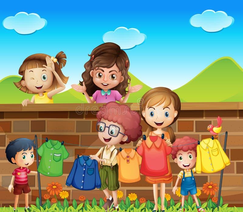 Children doing laundry vector illustration