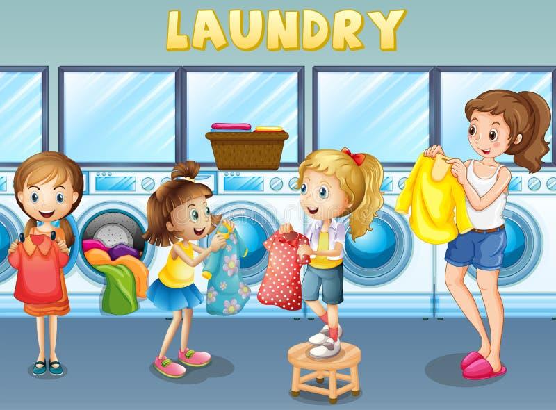 Children doing laundry together. Illustration vector illustration