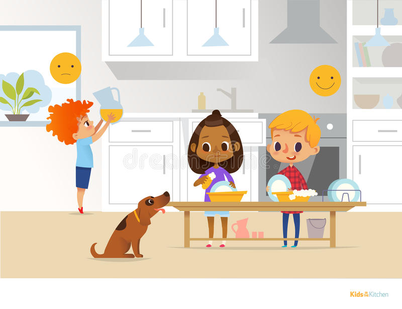 Children doing daily routine activities in kitchen. Two kids washing dishes and red head boy holding pitcher with orange juice. Mo. Ntessori environment concept royalty free illustration
