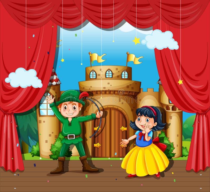 Children doing stage drama. Illustration royalty free illustration