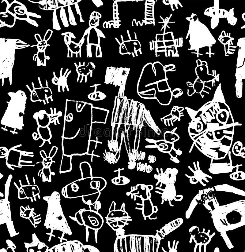 Children doodles draw chalk black and white seamless pattern. royalty free illustration