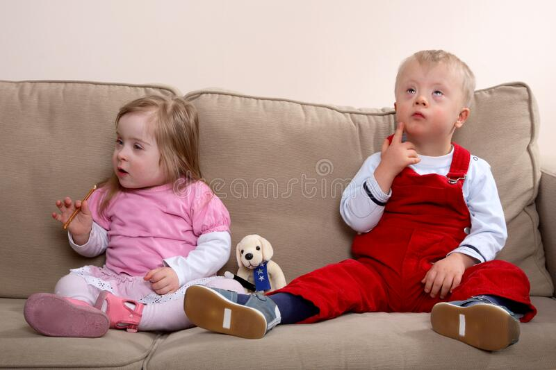 Children with Down syndrome royalty free stock photo