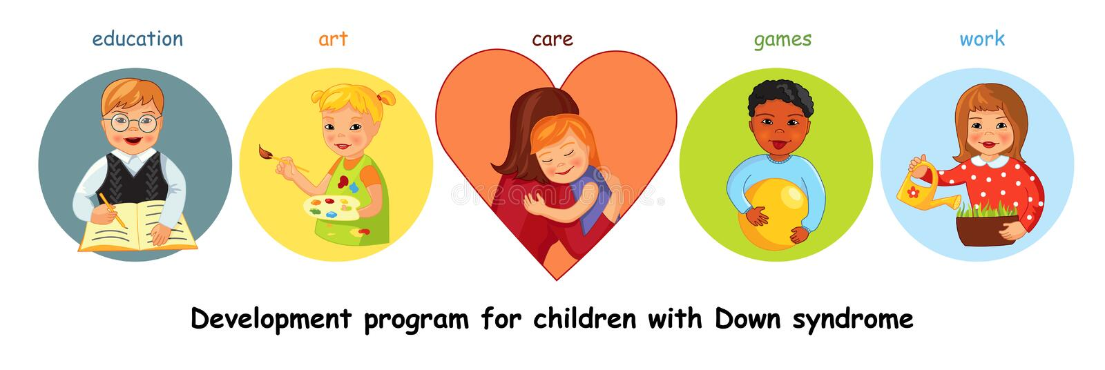 Children with Down syndrome development vector illustration
