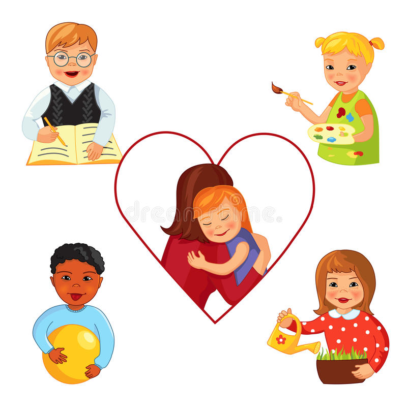 Children with Down syndrome vector illustration