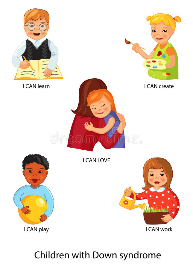 Children with Down syndrome royalty free illustration