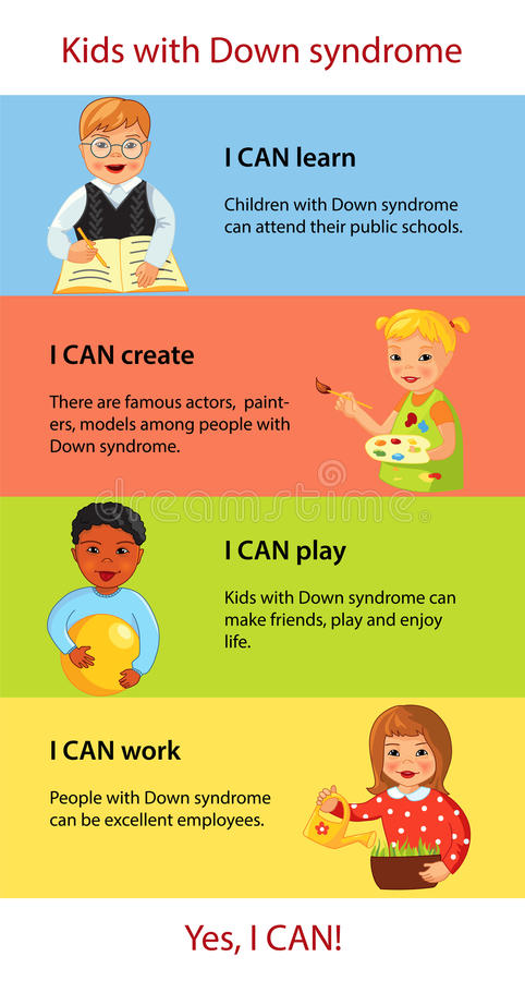 Children with Down syndrome facts infographics royalty free illustration