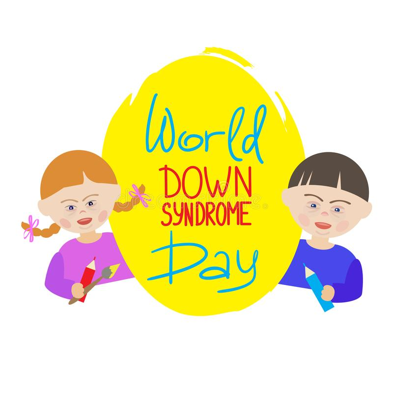 Children with Down syndrome are holding a blue sign that says World Down Syndrome Day. stock illustration