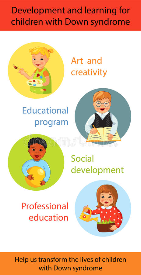 Children with Down syndrome learning royalty free illustration