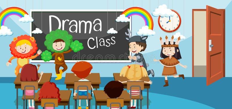 Children in drama class. Illustration vector illustration