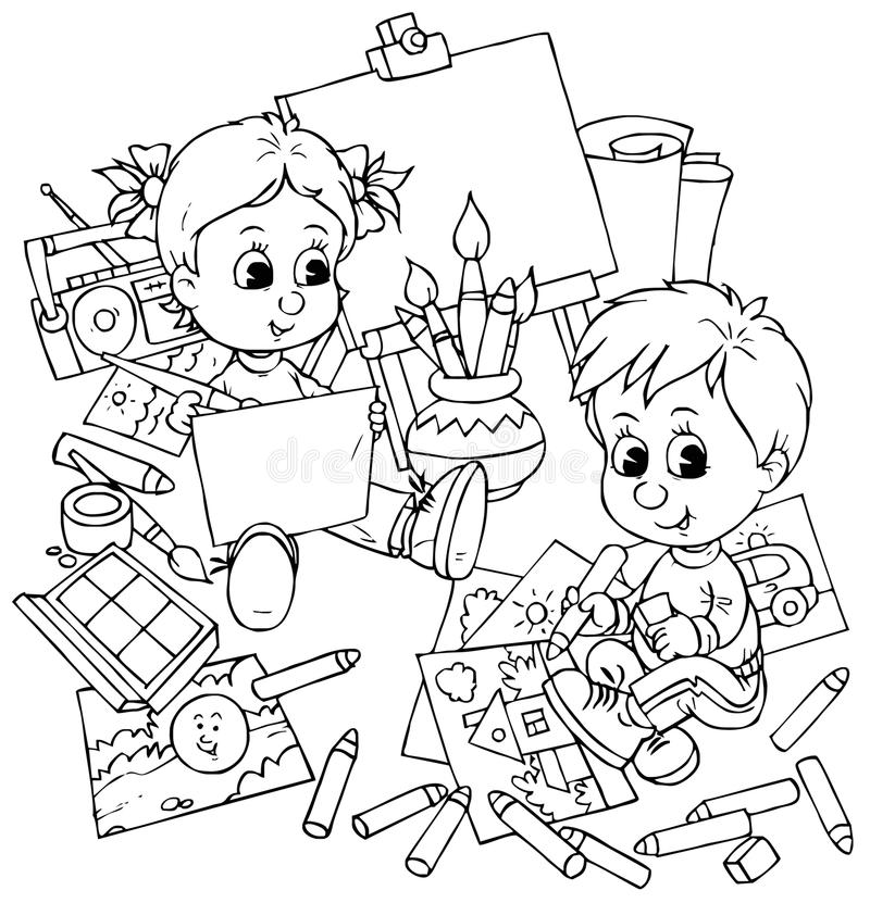 Download Children draw stock illustration. Image of sketch, school - 14976161