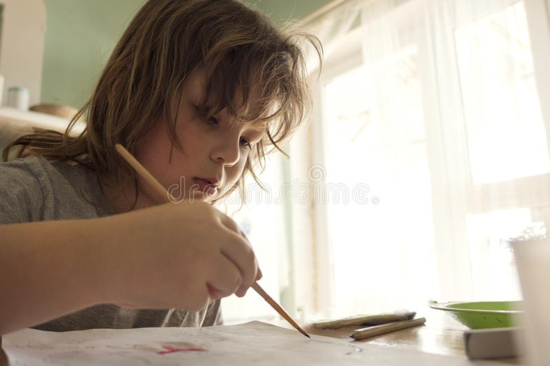Download Children Draw In Home, Boy Studying Drawing At School Stock Image - Image of elementary, draw: 115060211