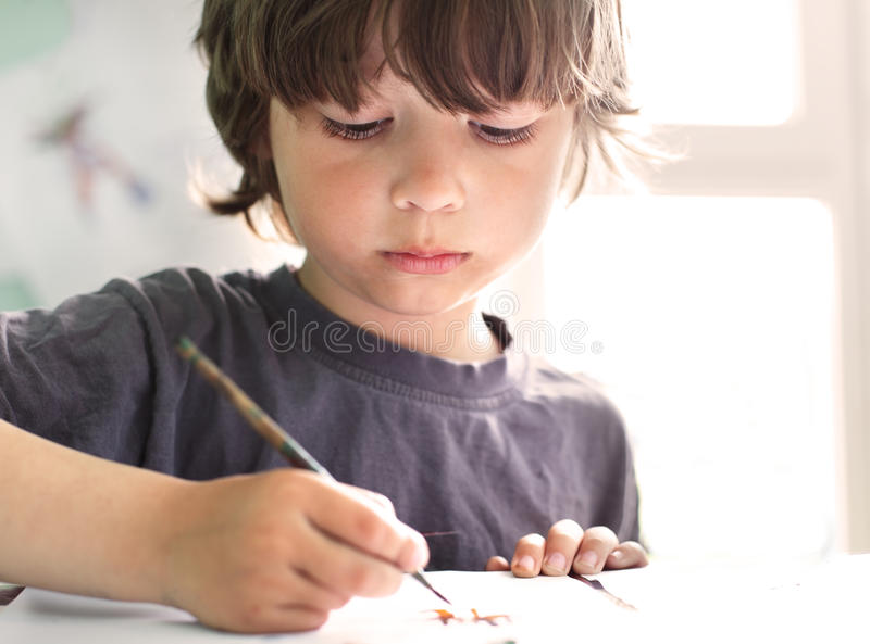 Children draw in home royalty free stock image