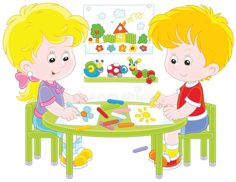 Children drawing bright and funny pictures stock illustration