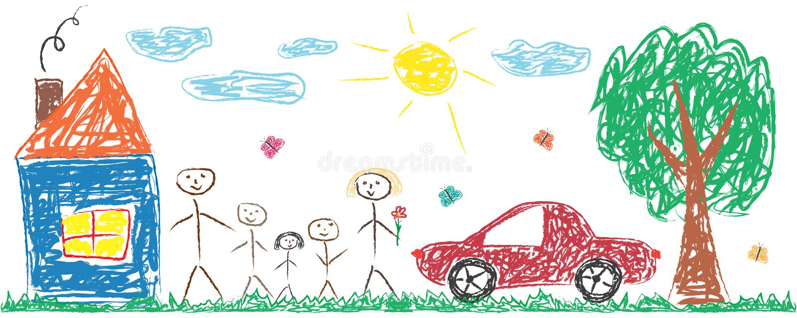 Children drawing cheerful family, house, tree, car, sun. Colorful isolated vector illustration royalty free illustration